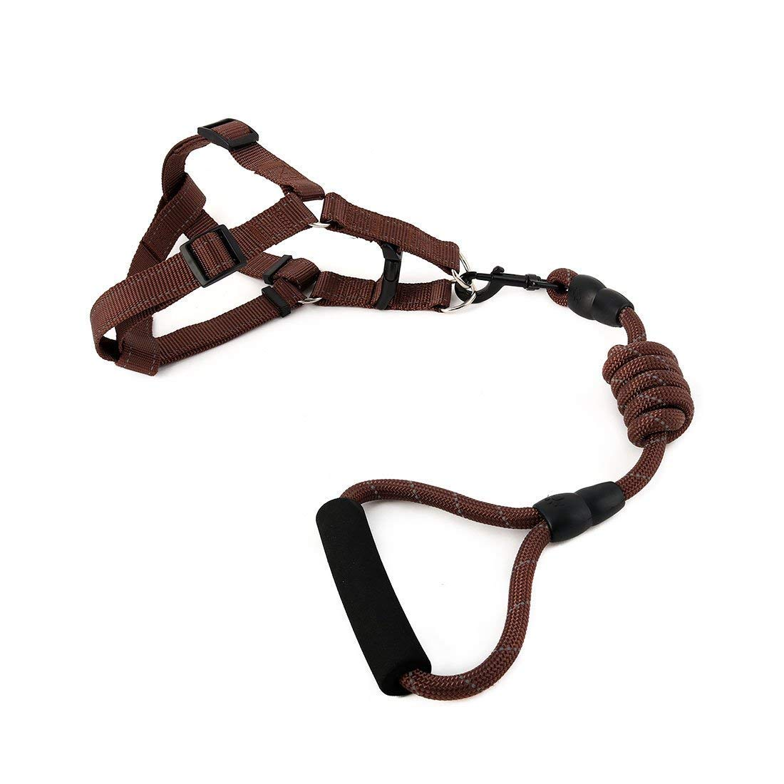 1Pc XL, Coffee color   Nylon Travel Walking Adjustable Reflective Leash Rope Dog Pet Neck Belt Harness