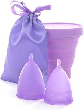 Cuppy s - Juego de copas menstruales de silicona médica, sin BPA, tamaño S y L, incluye vaso desinfectante