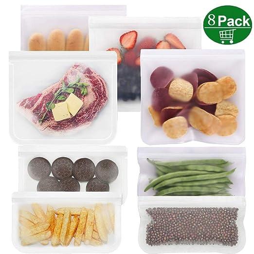 DAYPICKER Bolsas reutilizables para almacenamiento, 8 pcs Bolsas de tocino ecológicas bocadillos en bocadillos para alimentos de frutas líquidas EXTRA ...