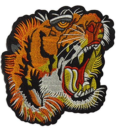 Est Mundum Motorcycle Backpack Patches Designer Snake | Bee | Tiger | Rose | Multi-Pack Kit | Embroidered Iron On Patch For Jackets | (Screaming Tiger) Tigers Embroidered Towel