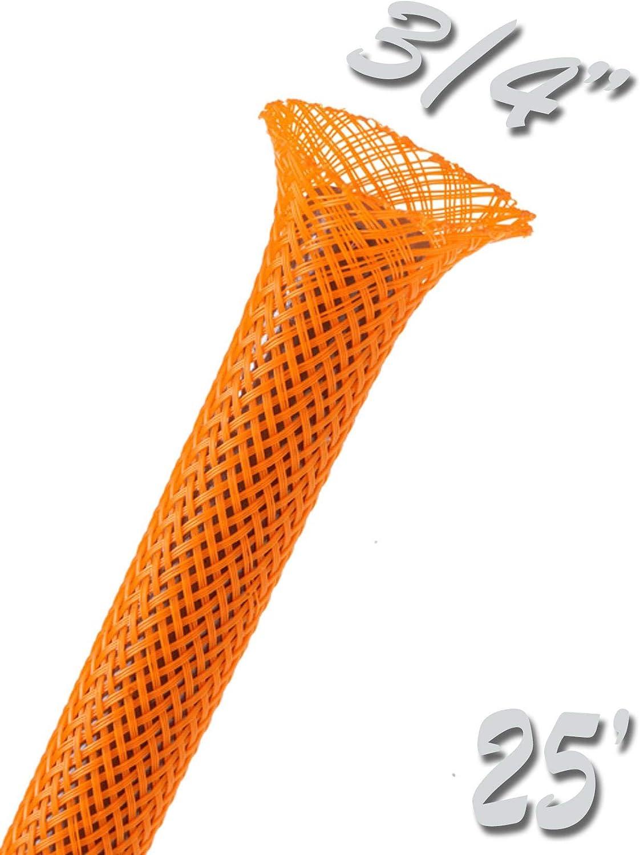 25Ft 1//8 PET Expandable Braided Sleeving Orange