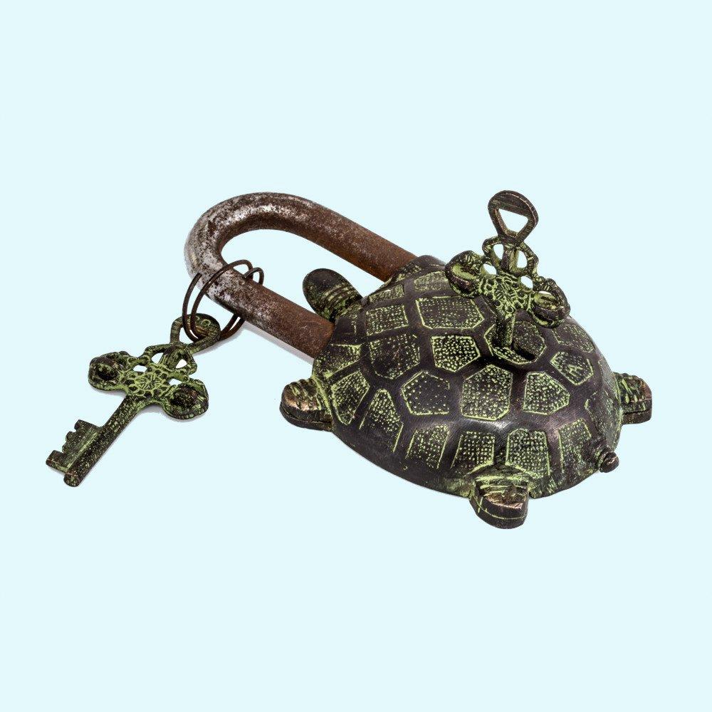 Antiques World Vintage Tibet Turtle Brass Buddhist Antique Tortoise Green Handmade Lock Padlock Lock Keys AWUSABL 08