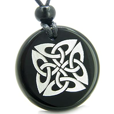 Amulet life protection celtic shield knot ancient powers black agate amulet life protection celtic shield knot ancient powers black agate pendant necklace aloadofball Image collections