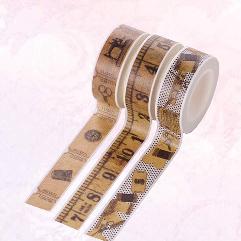 NUOBESTY 3 Pcs Washi Ruban R/ègle D/écoratif Masquage Ruban Adh/ésif Vintage Japonais Ruban de Masquage pour Bricolage Artisanat Scrapbooking Bullet Planificateurs