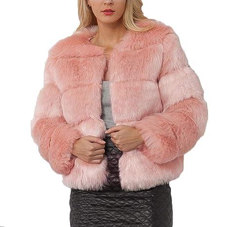 QitunC Mujer Color Sólido Abrigo Corto Piel Sintética Chaqueta Calidez Manga Larga Pink S