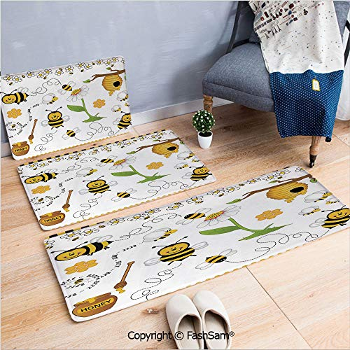 Flannel Daisies - FashSam 3 Piece Flannel Doormat Flying Bees Daisy Honey Chamomile Flowers Pollen Spring Animal Print for Kitchen Rugs Carpet(W15.7xL23.6 by W19.6xL31.5 by W19.6xL59)