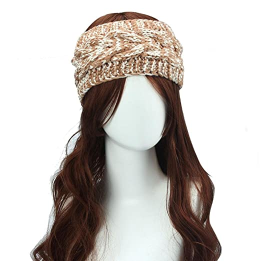 Dreamyth Winter Women Ear Warmer Headwrap Double Color Knit Headband (Khaki) 7f8e2617f8