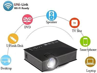 Uvistar-UC46 1200 Lúmenes, HD 1080P LED WIFI MINI