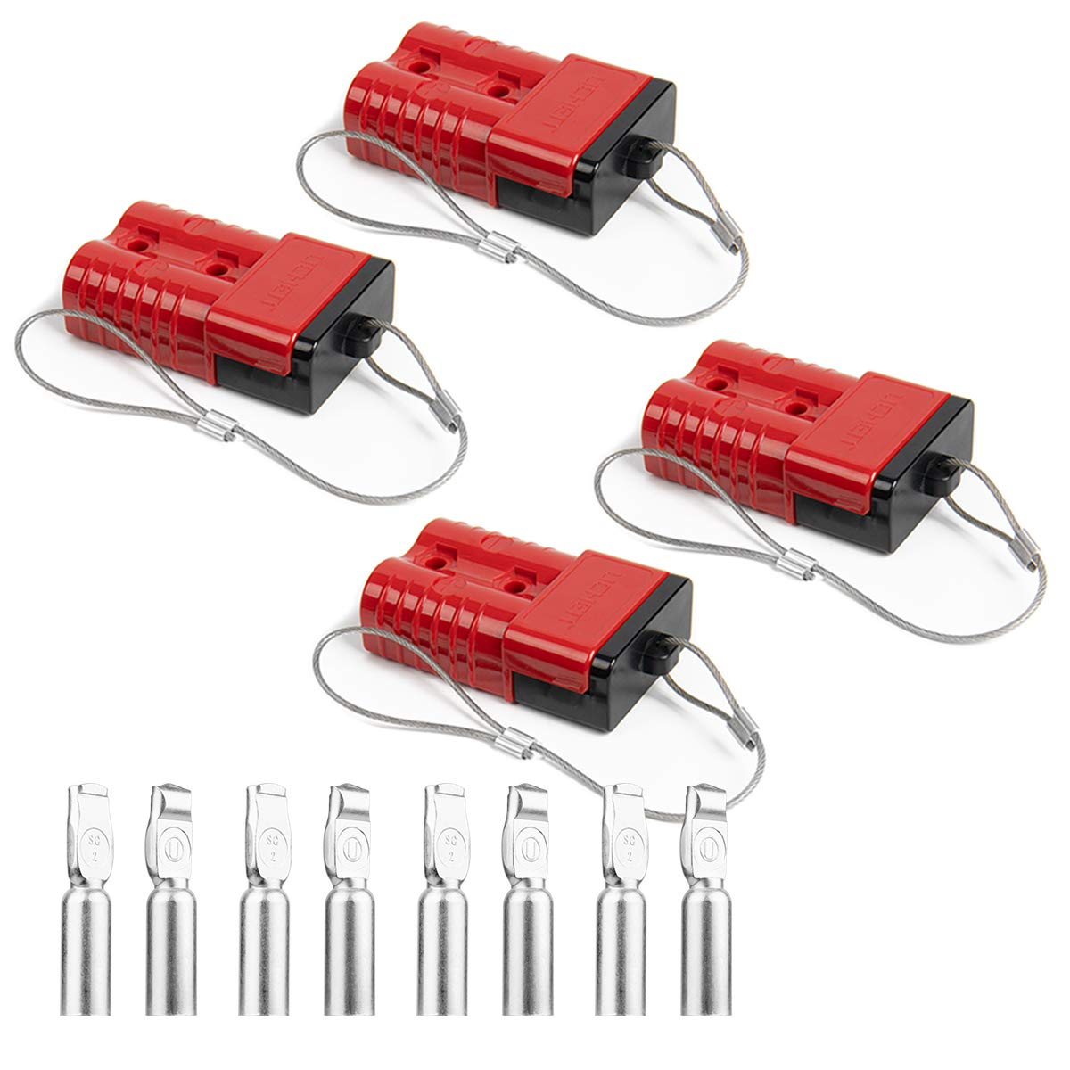 HYCLAT Red 2-4 Gauge Battery Quick Connect/Disconnect Wire Harness Plug Connector Recovery Winch Trailer (4 Pack) by HYCLAT