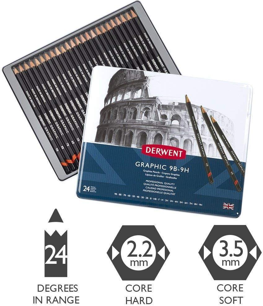 9B Paquete De 3 Lápices Dibujo Derwent Gráfico o Academia-todos los grados 9H-F