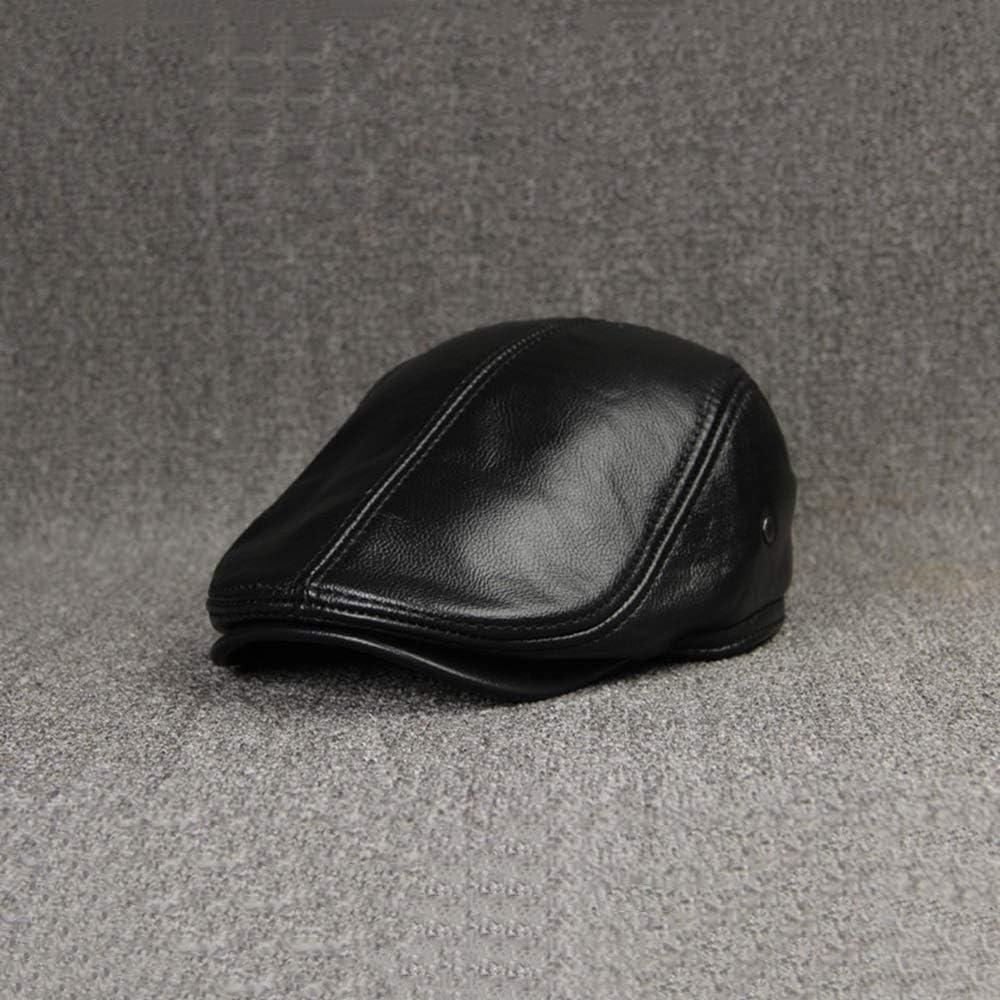 DLSMB Schieberm/ütze Flatcap Unisexs Kopfbedeckung Braune Leder Flache Kappe Englischer Opa Hut Zeitungsjunge Klassische M/ütze Flatcap M/änner Color : Black, Size : L