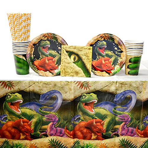 Dino Blast Party Supplies Pack for 16 Guests: Straws, Dessert Plates, Beverage Napkins, Cups, and Table Cover
