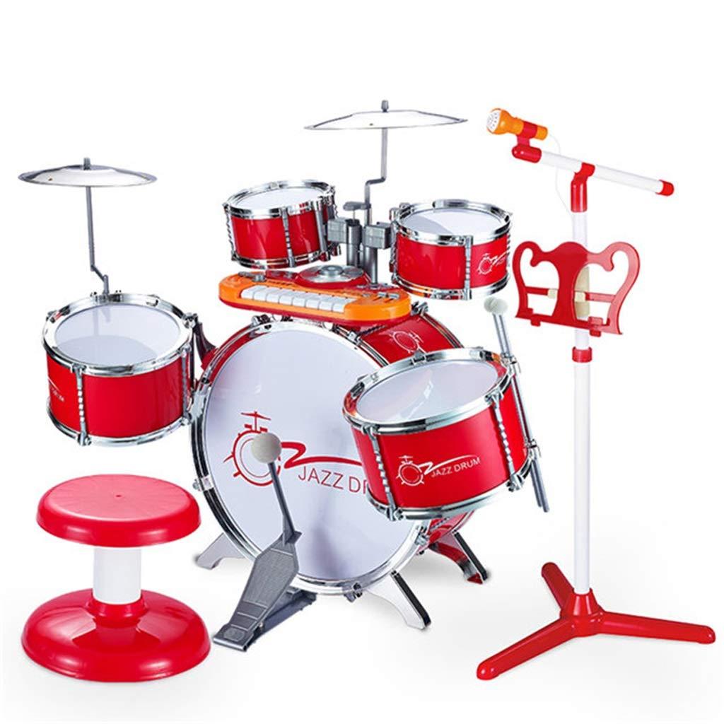 LINGLING-Tambor Tambor Infantil Batería Batería Energía Percusión Ambiental Rojo (Color : Red)