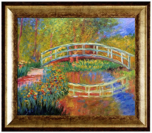 overstockArt The Japanese (Bridge in Monet's Garden-Yellow) with Athenian Gold King Framed Oil Painting, 31