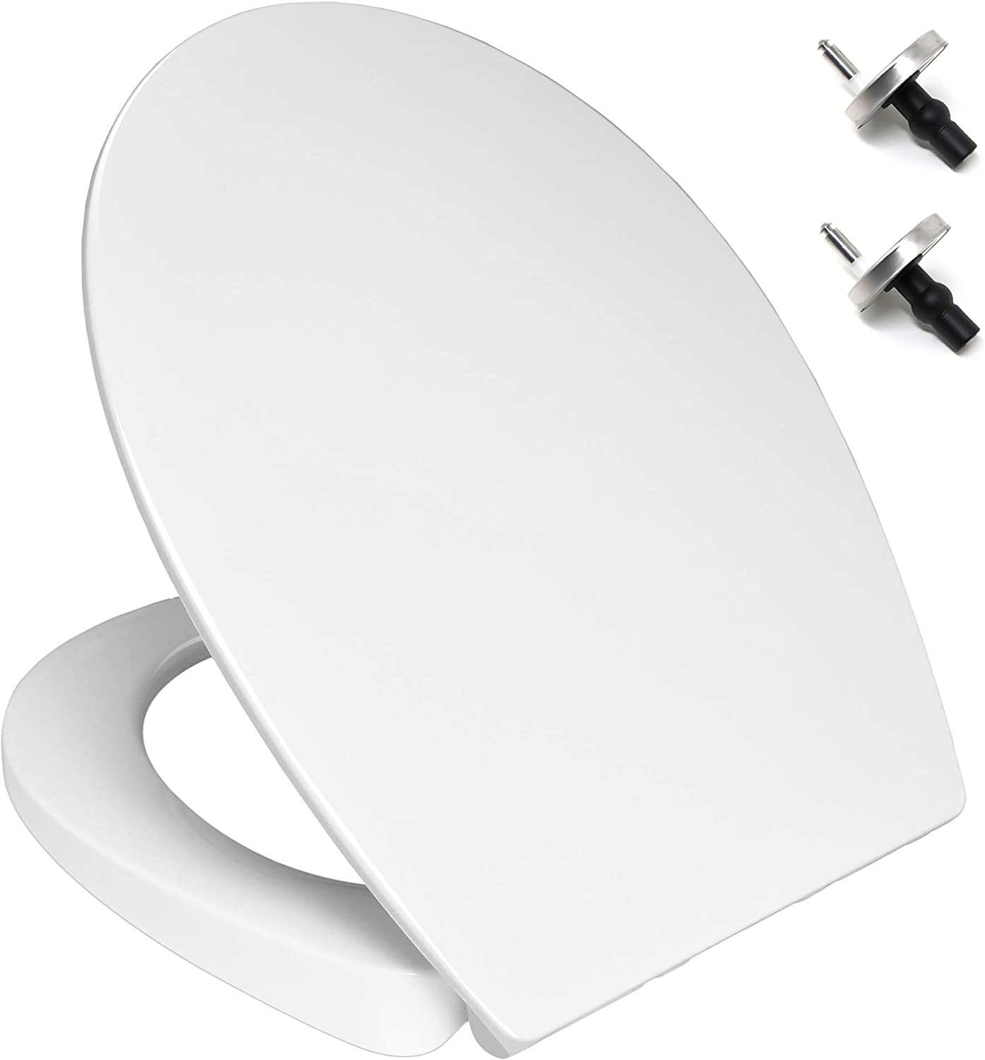 TOILET SEAT, Soft Close Quick Release Toilet Seat, White Urea-Formaldehyde Anti-Bacterial Material (SMART LOOK) WC Loo Seat with Oval Shape Lid - Dual Fixing Stainless Hinges - By MASS DYNAMIC
