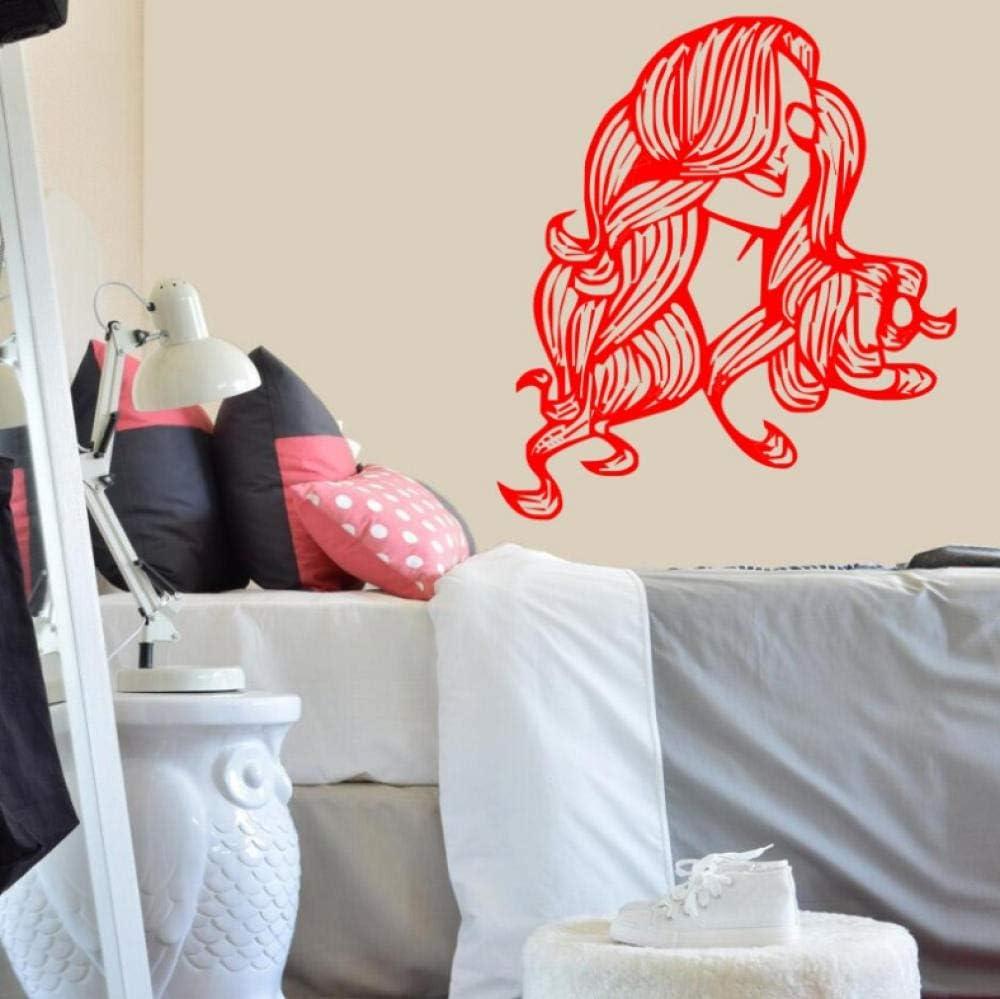 Amazon Com Aayuj Wall Sticker Wall Decal Vinyl Salon Girl Sticker Beautiful Girl With Housewares Art Decor Mural Japan Style Size 42x46cm Home Kitchen