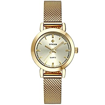 Reloj De Mujer Fashion Moda Ultra Thin Quartz Watch Mesh Belt Stainless Steel Band RE0067