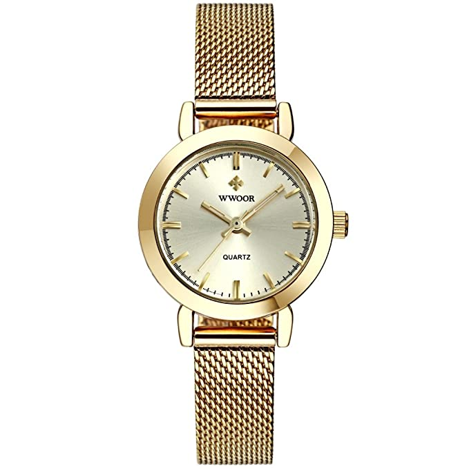 Amazon.com: Reloj De Dama Para Mujer Ultra Thin Quartz Watch Mesh Belt Stainless Steel Band: Watches