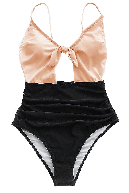 CUPSHE Women's Sweet Honey Bowknot One-Piece Swimsuit Beach Swimwear