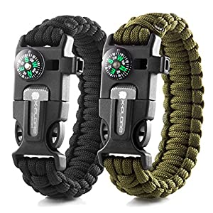 X-Plore Gear Emergency Paracord Bracelets | Set of 2| The Ultimate Tactical Survival Gear| Flint Fire Starter, Whistle, Compass & Scraper | Best Wilderness Survival-Kit - Black(K)/Green(K)