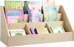 ECR4Kids Birch 5 Compartment Easy to Reach Book Display, Wood Reading-Corner Storage Shelf, Minimalist Classroom Furniture, Book Stand, Homeschool Book Storage, Bookshelf for Kids, Toddlers, Natural