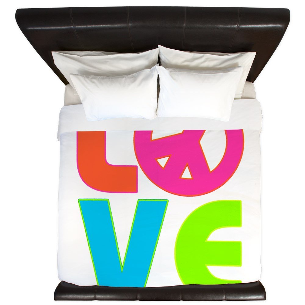 King Duvet Cover Neon Love with Peace Symbol Sign by Royal Lion