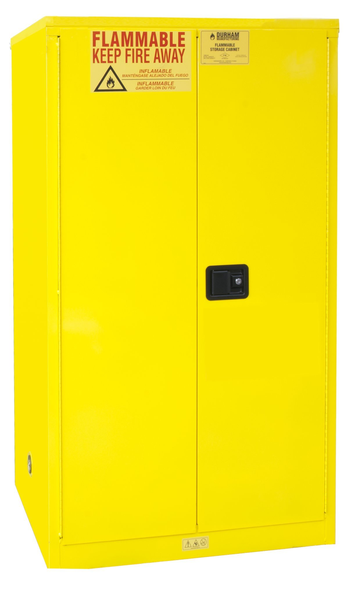 Durham FM Approved 1060M-50 Welded 16 Gauge Steel Flammable Safety Manual Door Cabinet, 2 Shelves, 60 gallons Capacity, 34'' Length x 34'' Width x 65'' Height, Yellow Powder Coat Finish