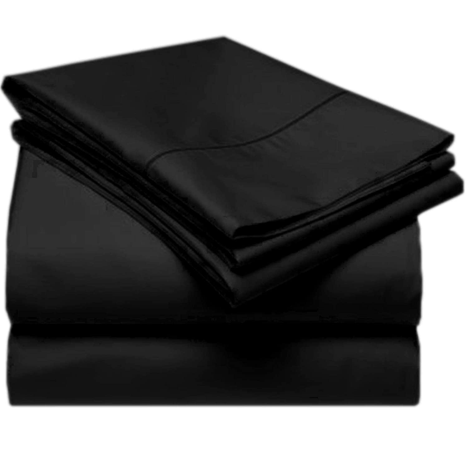 Ramano Collections 6 Piece Soft, Wrinkle Resistant & Double Brushed, Bamboo Microfibre Blend Sheet Set (2 Extra Pillow Case) - Black, Double/Full Size