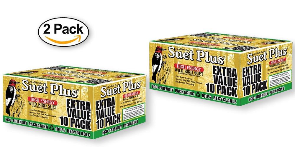 Suet Plus Extra Value Pack Wild Bird Suet - 20 Suet Cakes (2 BOXES OF 10 CAKES) by Wildlife Sciences
