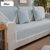 DW&HX Checkered 100% cotton Sofa slipcover Furniture protector,3 seats Non-slip Quilted Sofa protector perfect for pets and kids-C 35x35inch(90x90cm)