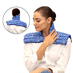 HTP Relief Dual Therapy Heating Pad for Neck and Shoulders | A Plush Microwavable Heating Pad with Relaxing All Natural Lavender Blend - Relieve Neck Pain, Shoulders Pain, Back Pain, Tension & Stress