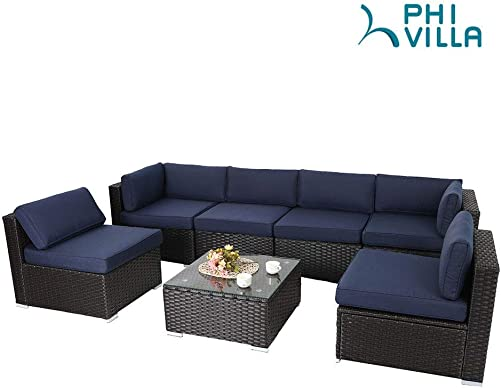 PHI VILLA Outdoor Rattan Sectional Sofa- Patio Wicker Furniture Set 7-Piece, Blue