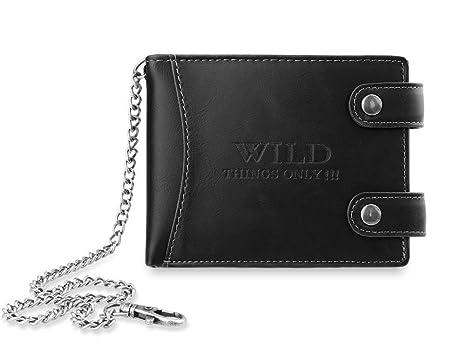 Cartera monedero para caballero en diseño horizontal con cadena, marca WILD THINGS ONLY (negro)