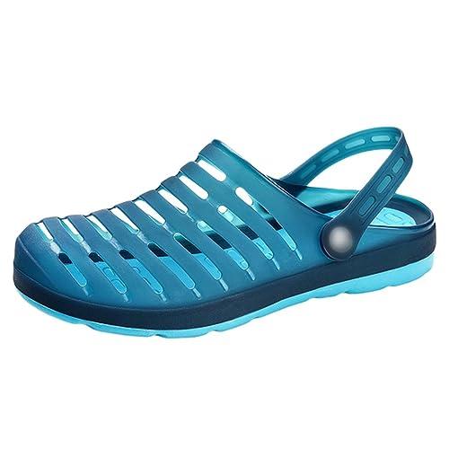 YiLianDa Zuecos Respirable Zapatillas para Hombres Sandalias de Playa Piscina Jardín Zapatos Verano Azul 43 3x6LDQLfL