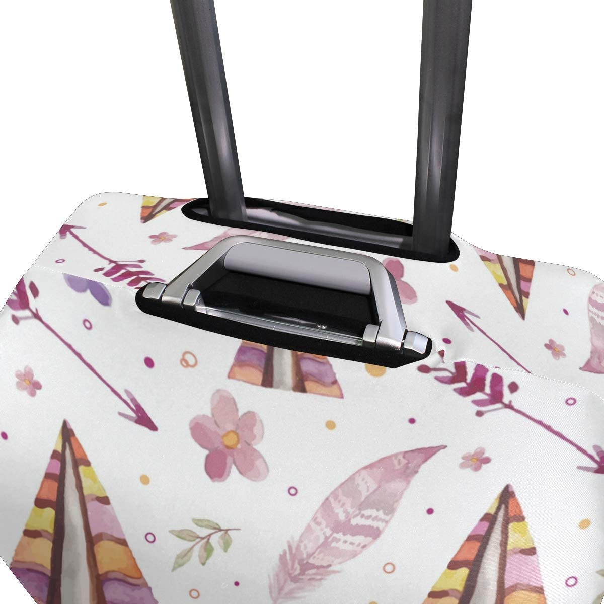 Travel Luggage Cover Watercolor Boho Pattern Leaves Flowers Suitcase Protector