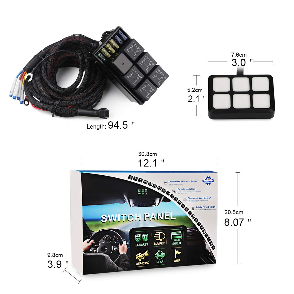 Universal 6 gang button switch panel WATERWICH 6 Gang Switch Panel Electronic Relay System Circuit Control Box Waterproof Fuse Relay Box Wiring Harness Assemblies For Car Auto Truck Boat Marine