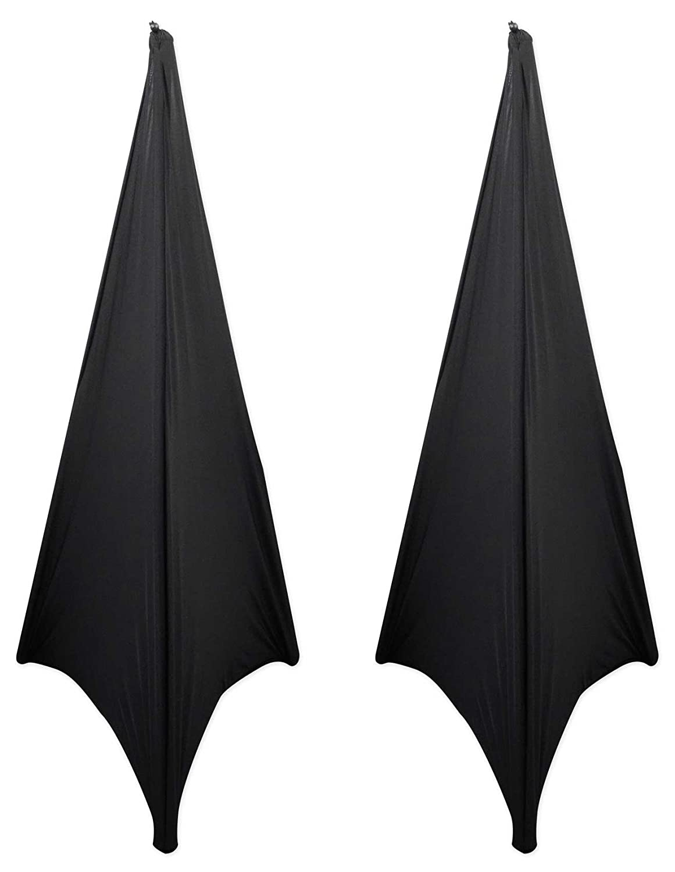 (2) Rockville RSC7B Black Tripod PA Speaker Stand Scrims Cloth 360 Degree Cover (2) RSC7B