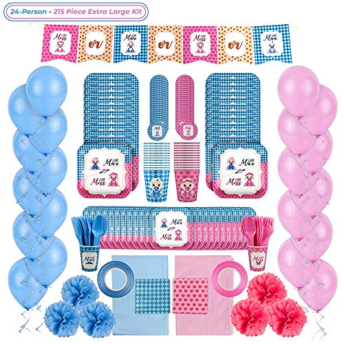 Gender Reveal Party Supplies Kit: Baby Boy or Girl Gender Reveal Decorations and Tableware Set for 24 People - Pink and Blue Balloons, Plates, Cups, Tablecloths, Banner and More - -