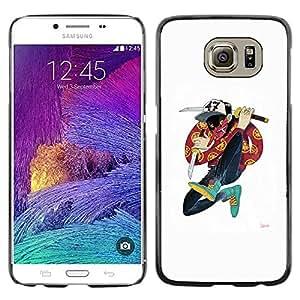 PC/Aluminum Funda Carcasa protectora para Samsung Galaxy S6 SM-G920 Samurai Cartoon Music Hip Hop Dude / JUSTGO PHONE PROTECTOR