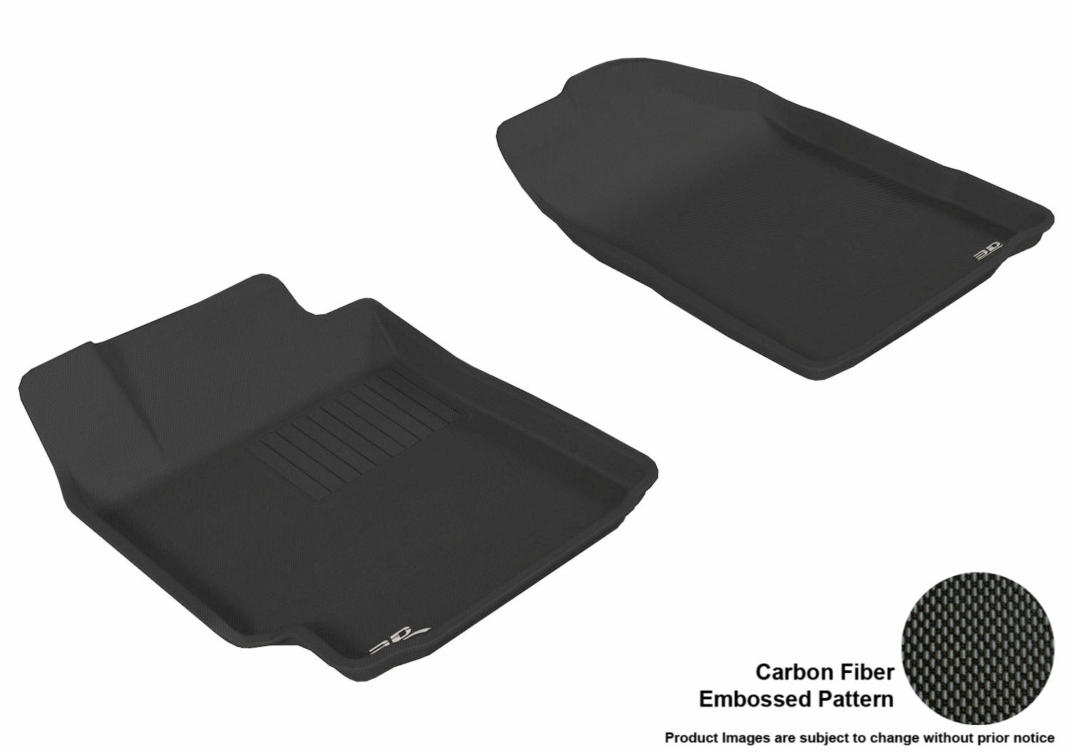 Black 3D MAXpider Complete Set Custom Fit All-Weather Floor Mat for Select Toyota Camry Models L1TY00401509 Kagu Rubber