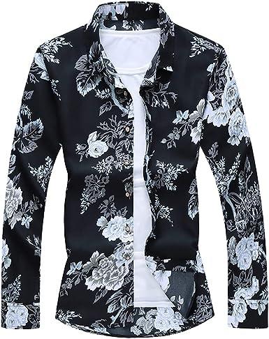 N\P Camisa floral casual de playa hawaiana de manga larga ...
