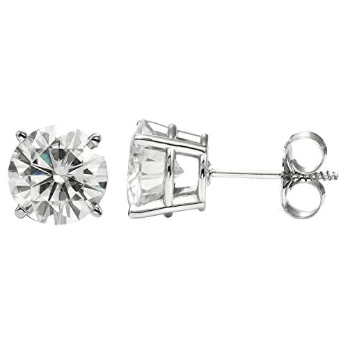 Forever Brilliant Round Cut Moissanite Four Prong Stud Earrings by Charles Colvard