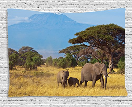 Ambesonne Safari Decor Collection, Photo of an Elephant Family in front of Kilimanjaro Mounts African Savannahs Wild Nature Scene, Bedroom Living Room Dorm Wall Hanging Tapestry, 80 X 60 Inches, Multi