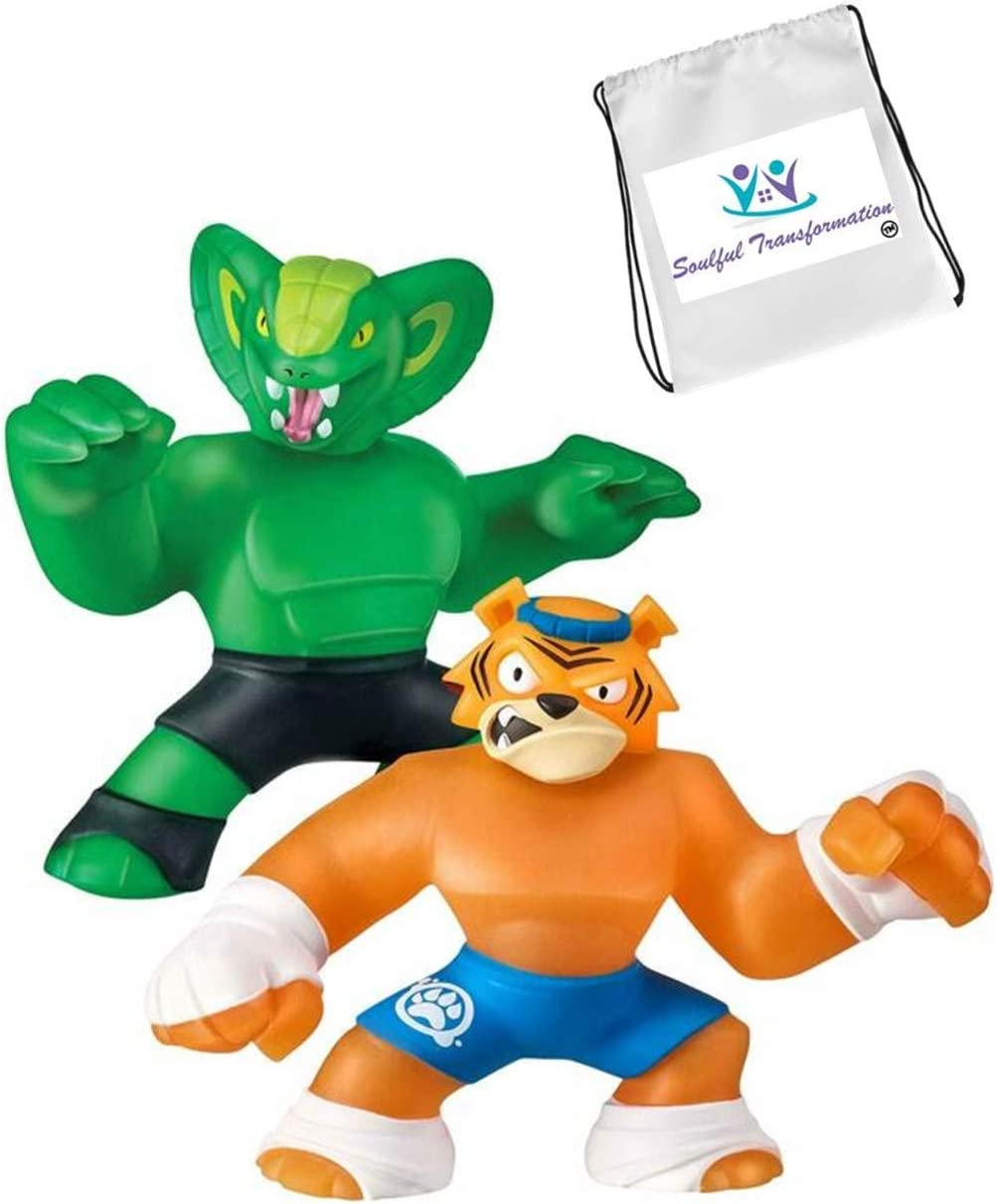 Tygor Versus Viper Heroes of Goo JIT Zu Action Figure (Bonus Exclusive TNT Trinket Bag Loaded with Extra Toys) Boys Girls Playtime and Loads of Fun