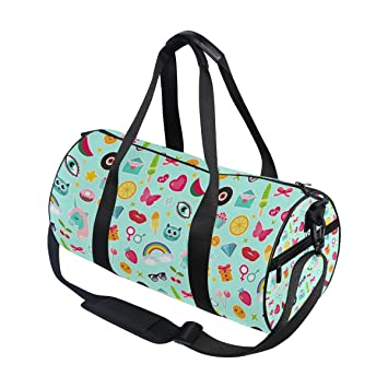 Amazon.com   Sports Duffel Bag Happy Colorful Emoji Rainbow Unicorn Love Gym  Tote Backpack   Sports Duffels 79410b18cf