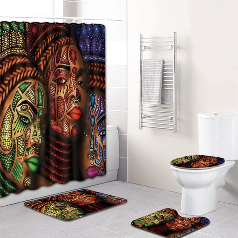ETH African Girl Pattern Shower Curtain Floor Mat Bathroom Toilet Seat Four-Piece Carpet Water Absorption Does Not Fade Versatile Comfortable Bathroom Mat Can Be Machine Washed Durable by ETH