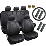 Leader Accessories 10203034 Auto Universal Leather PU Seat Covers for Cars, SUV Black with Airbag Free Freshener Air and Steering Wheel Cover, 17 Piece