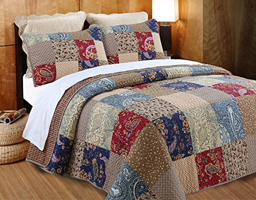 Cozy Line Home Fashions Sanders Red Navy Blue Brown Floral Print Real Patchwork, 100% Cotton Reversible Coverlet, Bedspread, Quilt Bedding Set for Women (Red/Navy, Queen - 3 Piece)