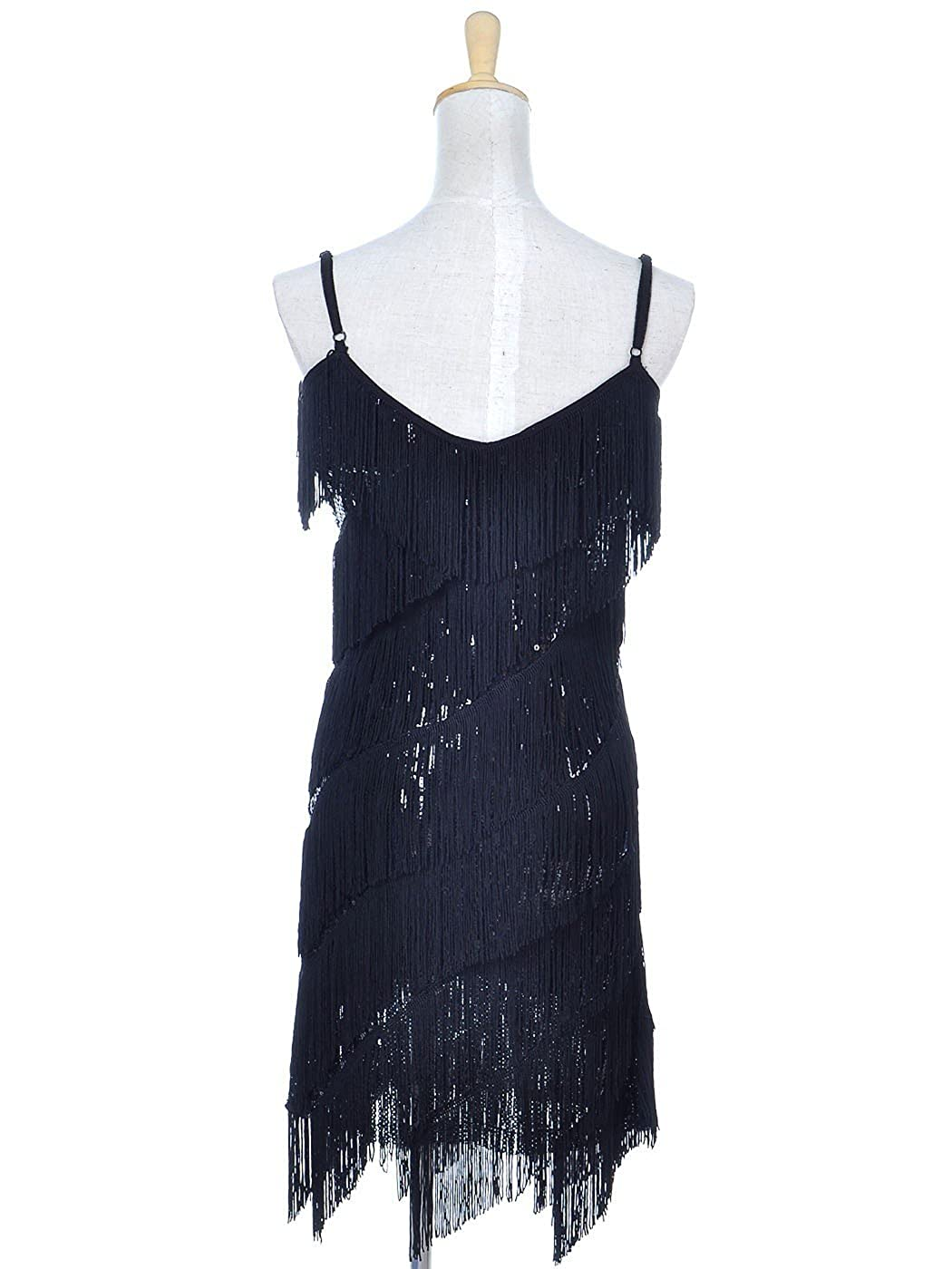 7b6b4ddd6a3 Amazon.com  Anna-Kaci Womens Fringe Sequin Strap Backless 1920s Flapper Party  Mini Dress  Clothing