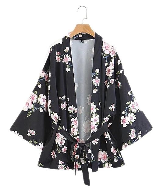 Popoye Floral Chaqueta Kimono para Mujeres Poliéster Un ...